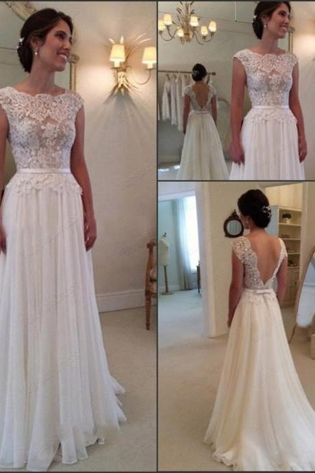 Elegant boat beck A line ivory lace and chiffon floor length wedding dress,beaded bridal dress,evening gowns