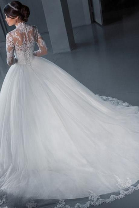 With Jacket High Neck Long Sleeve Lace Applique Flying Ball Gown Long Train Wedding Dress