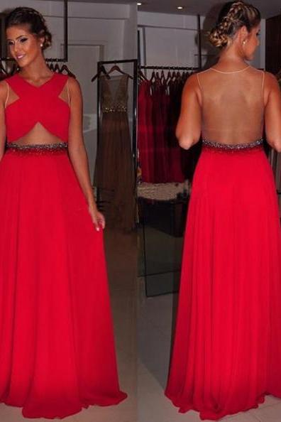 Long Red Chiffon Prom Dresses, Pleat Floor Length Women Dresses