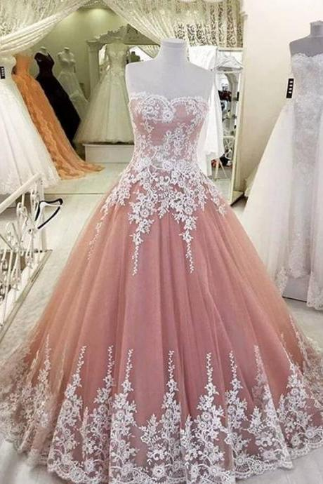 Tulle Prom Dress, Dusty Pink Prom Dress, Elegant Prom Dress, Lace Applique Prom Dress, Prom Dresses 2019, Cheap Prom Dress, A Line Prom Dress, Evening Dresses 2019, Party Dresses