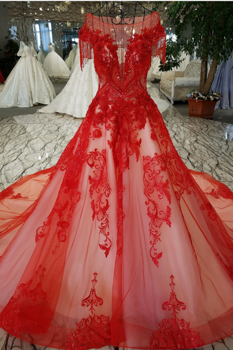 Red dress beaded married exquisite luxury embroidery beautiful party dresses with short sleeves ball gown