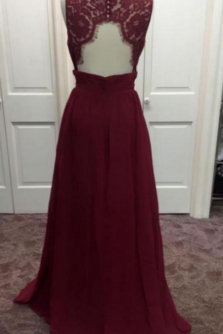 Sheer Neck Long Chiffon Burgundy Prom Dress with Open Back