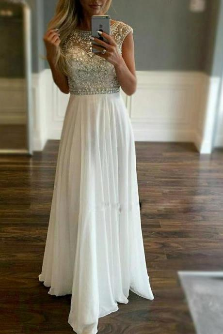 Prom Dress,Sexy Prom Dresses with Beading, Long Chiffon Evening Dress,Formal Dress