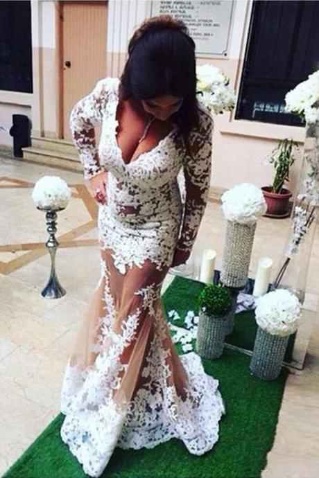 Arabic Lace Long Sleeve Prom Dresses, Deep V Neck See Through Mermaid Evening Gowns, Appliques Formal Party Dresses
