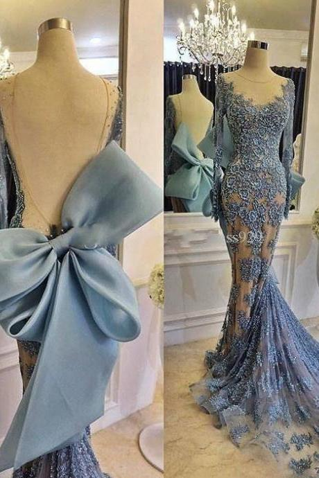 2019 Sexy Sheer Lace Prom Dresses With Long Sleeve Backless Bow Knot Court Train Formal Party Dress Plus Size