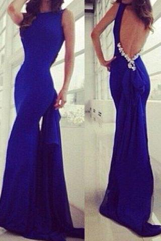 Royal Blue Bow Embellished Mermaid Dress