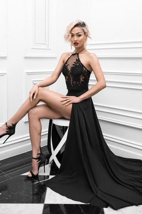 Sexy Black Prom Dresses 2019,Two Piece Prom Gown,Halter Neckline Black Evening Dress,Sexy Open Back Black Lace Two Piece Graduation Dress