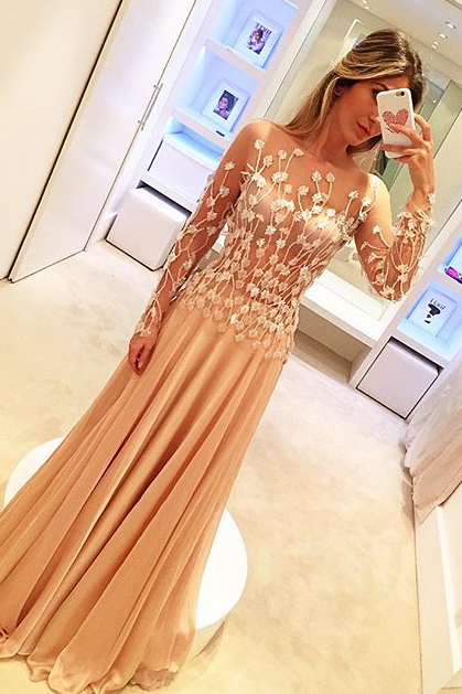 Champagne Prom Dress, Lace Applique Prom Dress, Long Sleeve Prom Dress, Elegant Prom Dress, Floor Length Prom Dress, Women Formal Dress, Sheer Back Prom Dress, Prom Dresses 2019, A Line Prom Dress
