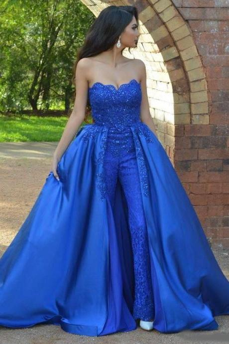 Royal Blue Jumpsuits Lace Prom Dresses Strapless Neck Beaded Overskirt Evening Gowns Vestidos De Fiesta Sweep Train Appliqued Formal Dress