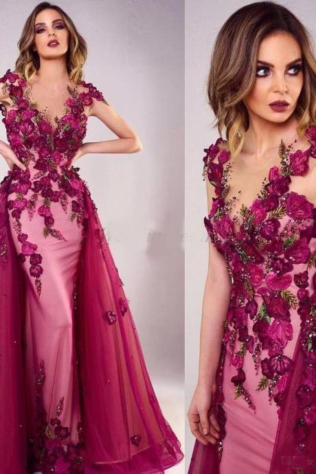 2019 Fuchsia Mermaid Prom Dresses Beaded Sheer Jewel Neck Appliqued Evening Gowns Vestidos De Fiesta With Detachable Train Formal Dress