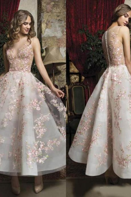 Fabulous Pink Floral Prom Dresses Appliqued Sheer Jewel Neck A Line Short Formal Evening Gowns Buttons Back Ankle Length Homecoming Dress