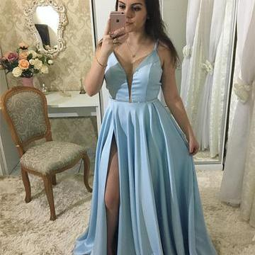 Split Blue Prom Dress, Sexy Spaghetti Straps Floor Length Long Prom Dresses, 2018 Evening Party Dress
