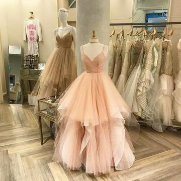 Sexy Spaghetti Straps Prom Dress, 2018 Tulle Prom Dresses, Long Evening Dress, Formal Prom Gowns