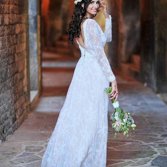 Ivory Chantilly Lace Wedding Dress with Long Sleeves