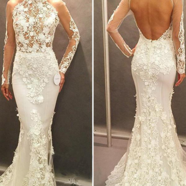 Sheer Lace Applies Mermaid Wedding Dress with Long Sleeves and Sweep Train