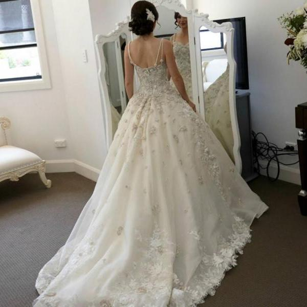 Generous Wedding Dress with Lace,Fashion Bridal Dress,Sexy Party Dress,Custom Made Evening Dress
