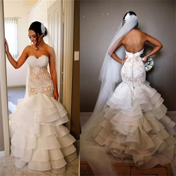 Elegant Lace Tiered Open Back Strapless Mermaid Unique Custom Wedding Dress
