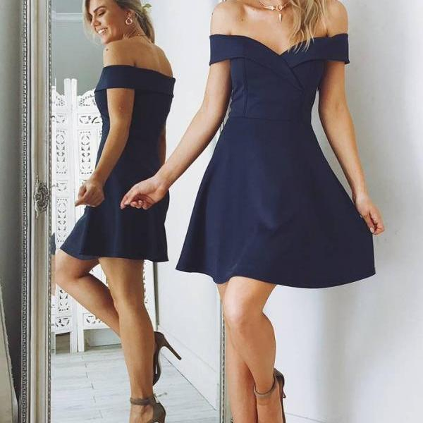 Off the shoulder Prom Dresses,Short Homecoming Dress,Navy Blue Homecoming Dress,Simple Prom Dresses,A LIne Homecoming Dresses